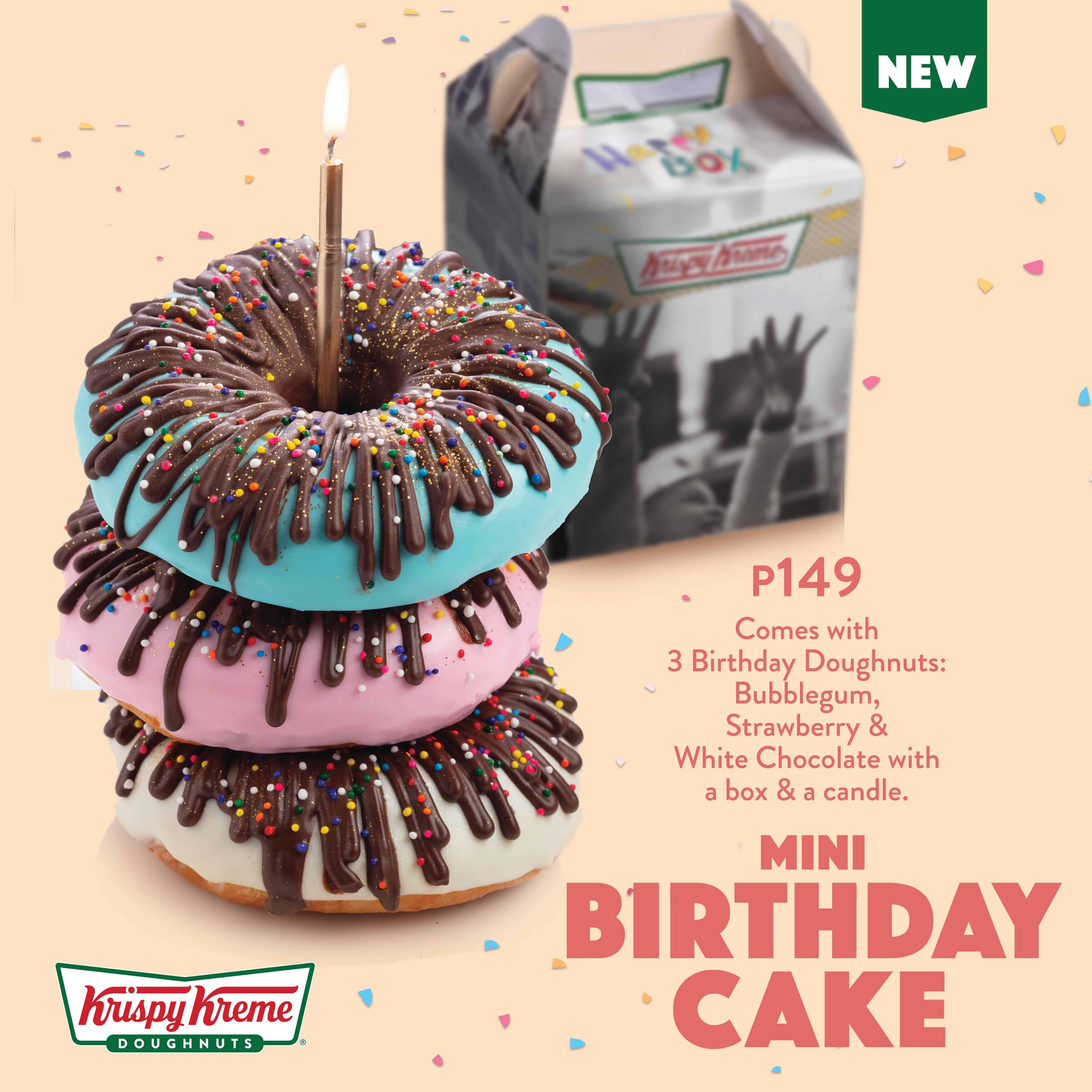 Marvelous Happy Birthday Krispy Kreme With Mini Birthday Cake Doughnuts Funny Birthday Cards Online Alyptdamsfinfo